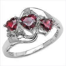 Herzen Diamant/Granat-Ring-925 Sterling Silber Rhodiniert