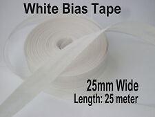 25mm/1 De Pulgada Blanco Algodón Cinta de BIES doblado ribete de recorte de Unión Rollo 25 metros
