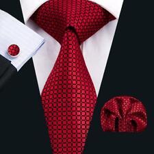 New Red Men's Classic Tie Plaid Check Black Silk Necktie Set Wedding Gift C-1573
