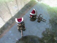 Beautiful 10K White Gold & 1.50 tcw Garnet Earrings (Sterling Backs) - 2.0g