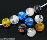Großverkauf Mix Millefiori Glasperlen Kugelnperlen zum Fädeln 8mm L/P