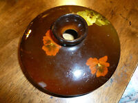 Vintage Weller - Louwelsa 481 - Brown with Pansy Flowers - Squat Round Vase