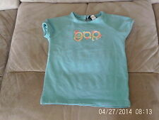 Girls 2 Years - Turquoise Blue Stretch T-Shirt with Appliqued Logo - Gap
