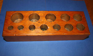 Wooden Tool Holder for Wad Punches. Drill Stand. Carpenter, Engineer, Leather.