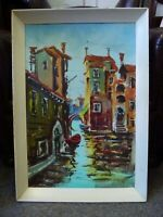 Old vintage Italian Oil Painting Expressionist Venice scene 60s signed Lellketto