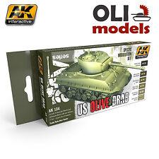 US Olive Drab Modulation Acrylic Paint Set 6x17ml - AK Interactive 131