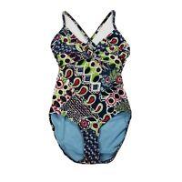 Athleta One-Piece Swimsuit ~ Sz 2T (36C/34D/32DD) ~Multicolor ~Adjustable Straps