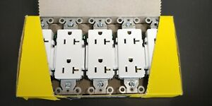 Hubbell DR20 WHI Deco Duplex Receptacle, White, 20A 125V 10 pieces