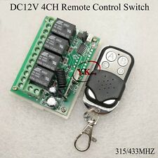 DC 12V 4CH Relay Remote Control Switch Receiver Transmitter 315/433 Lighting Swi