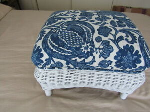 Antique White Wicker Footstool Upholstered w/ Blue & White Kaufman Fabric