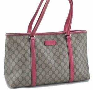 Authentic GUCCI Shoulder Tote Bag GG PVC Leather 114595 Brown Pink E2155