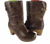 UGG Australia Women's Lynnea Arroyo Brown Leather 1958 Wooden Clog Boots Sz 8