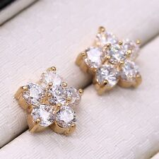 Fashion Little Star White Crystal 18K Gold Plated Rhinestones Chic Stud Earrings