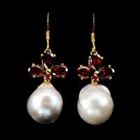 Unheated Pear Mozambique Garnet 7x5mm Pearl Ruby 925 Sterling Silver Earrings