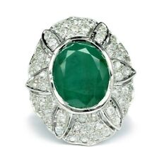 8.41 Carat Natural Medium Green Emerald Ring With Zircon in 925 Sterling Silver