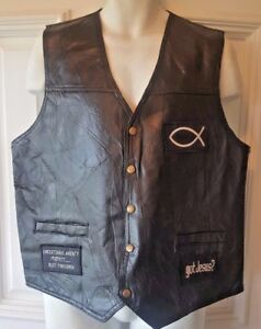 Men's Black Genuine Leather Motorcycle VEST Christian patches GIOVANNI NAVARRE