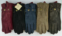 Dents Womens Ladies Suede/Knit Laura Gloves.black,navy blue,claret,oatmeal,brown