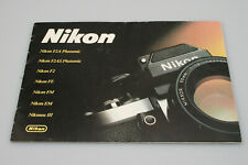 Nikon F2A, F2AS, F2, FE, FM, EM, Nikonos III Marketing Brouchure/Booklet -1980s
