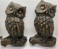 2 Vintage Hanging Chalkware Brown Owls
