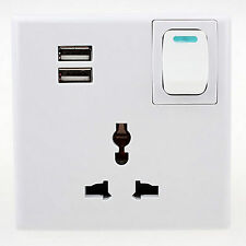 Universald USB Wall Power Supply Electric Power Outlet Panel Plate with switch