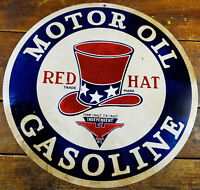 """Red Hat Motor Oil Gasoline Gas Station Style 14"""" Round Metal Advertising Sign"""