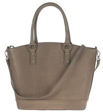 TAUPE Genuine leather woman handbag shoulder bag embossed lizard.Made in Italy