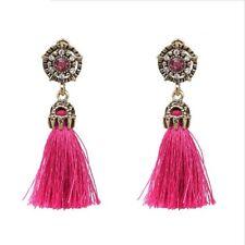 Fashion jewelry pink rhinestone drop dangle earrings with pink tassel