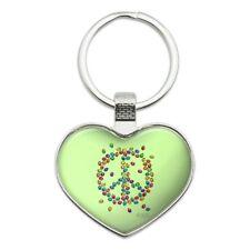 Lady Bug Rainbow Peace Sign Heart Love Metal Keychain Key Chain Ring