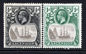 Ascension KGV 1924-33 Badge of St Helena ½d and 1d SG10-11 M/Mint