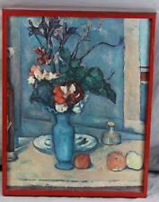 altes Stilleben Bild - hochwert. Kunstdruck auf Holzplatte Blumenvase + Obst  /H