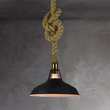 Vintage Industrial Pendant Light Lamp Barn Metal Black Hemp Rope Hanging Fixture