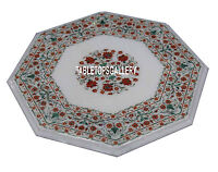 15'' White Marble Top Coffee Table Marquetry Carnelian Floral Inlay Decor H3356