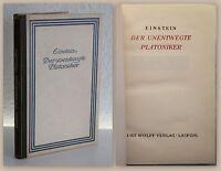 Carl Einstein Der unentwegte Platoniker 1918 Erstausgabe Sonderausgabe xz