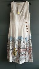 BODEN Arwen Midi Dress Ivory Street Scene W0321 RRP £90.00 Size UK 10 Long