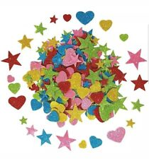 Foam Glitter Stickers Self Adhesive, Assorted Heart And Stars Shapes 460 pcs New