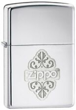 More details for personalised  zippo floral high polish chrome zippo lighter engraved gift
