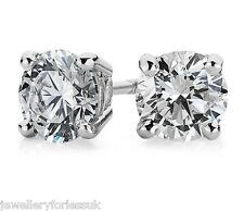 18Carat White Gold Diamond 4-Claw Solitaire 1.45 Carats Pair Ear Studs Certified