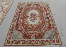 4' X 6'Floral Aubusson Design Antique Handmade Needlepoint Rug Roses Brown Swirl
