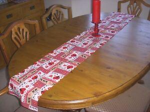 Christmas Table Runner 180cm x 26cm RED SCANDINAVIAN Decoration STRAIGHT ENDS