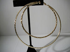 """3.25"""" gold textured double hoop clip on earrings non pierced basketball wives"""