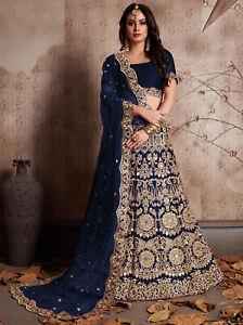 Blue Velvet Silk Net Lehenga Lengha Choli Wedding Mirror Embroidery Skirt