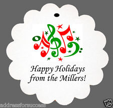 24 Personalized Christmas Musical Notes Favor Scalloped Tags Party Favors