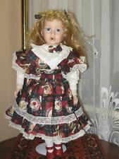 Vintage Porcelain Red Hair Doll Heather 9503B Wearing Bear Dress Europe 49 CM