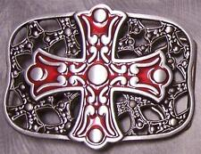 Pewter Belt Buckle religious Stylized Cross red NEW