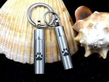"Mens Cremation Pendant Urn Keychain 1"" Key Ring for Ashes Pet Dog Cat Paw Print"