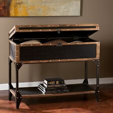 Chest Console Table Trunk Furniture Lower Shelf Vintage Antique Style Suitcase