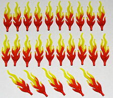 LEGO LOT OF 25 NEW TRANSPARENT FIRE FLAMES MARBLED TRANS-YELLOW AND ORANGE PARTS