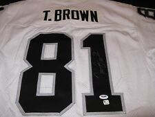 "Tim Brown Oakland Raiders Signed ""Game Issue"" Starter Jersey WHT PSA"