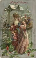 Christmas - Santa Claus  Old-World Hat Ringing Bell c1910 Winsch Postcard
