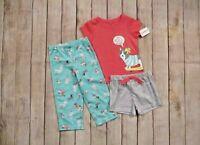 Carter's Toddler Girls 3 Piece Summer Pajamas Set Size 2T Top Bottoms Shorts NEW
